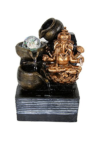 Ganesha Lotus Indoor Tabletop Fountain LED Lights Rolling Crystal Ball
