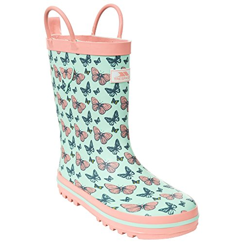Trespass Childrens Girls Butterflie Waterproof Welly Boots (2 Youth US) (Peppermint)