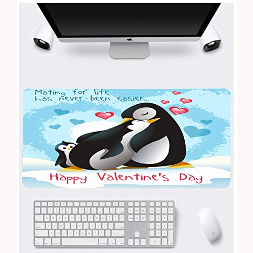 JAMRON Mousepad Oblong 11.8x23.6 Inches Polar Adorable Penguins Hugging On Valentines Penguin Holidays Love Baby Birds Cold Cute Day Non-Slip Rubber Mouse Pad Laptop Notebook