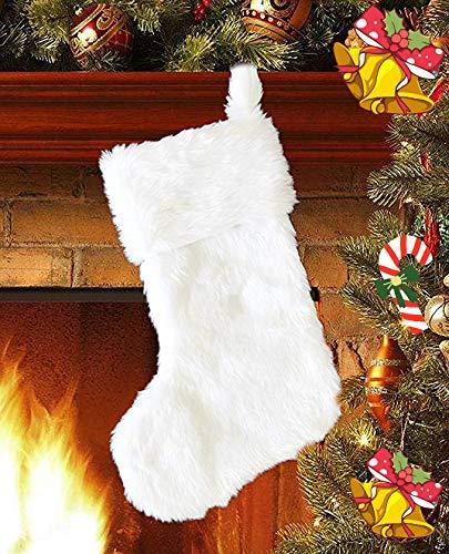 Fur Stocking Soft Christmas - ROSSSIMON White Faux Fur Christmas Socks, Soft Luxury Hanging Christmas Stocking for Christmas Decoration