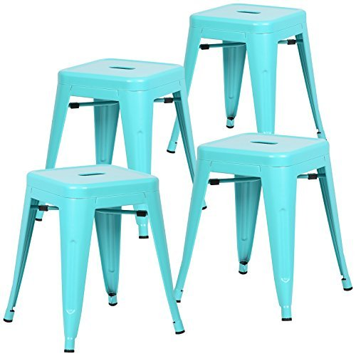 Poly and Bark Trattoria 18'' Stool in Aqua (Set of 4) by POLY & BARK