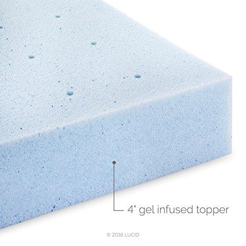 Lucid 4 Inch Gel Memory Foam Mattress Topper Ventilated