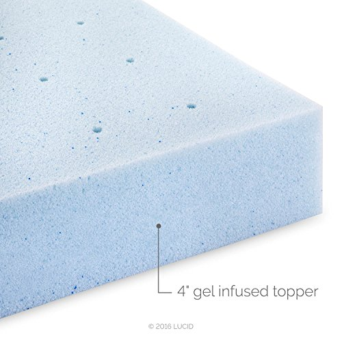 Lucid 4 Inch Gel Memory Foam Mattress Topper Ventilated For Optimum