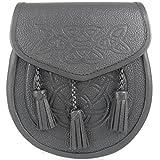 Kilt Society Mens Celtic Embossed Black Leather Kilt Sporran