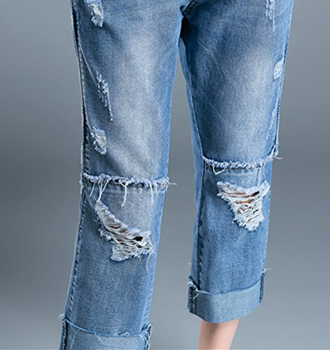 Donne Pantaloni Baggy Capri Jeans Caviglia Buco Stile Strappati Fidanzato Denim Larghi Icegrey Blu UqwFB0dzvq