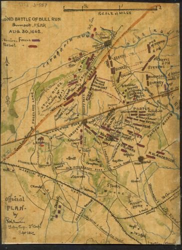 1862 Map Second Battle of Bull Run sunset 5 p.m. Aug 30 1862. Shows the area between Bull Run to the north and the Manassas and Gainesville Road to the south. The location of Warrenton Turnpike and th