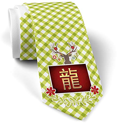 Green Plaid Christmas Neck Tie Dragon Chinese characters, letter red/yellow gift for men ()
