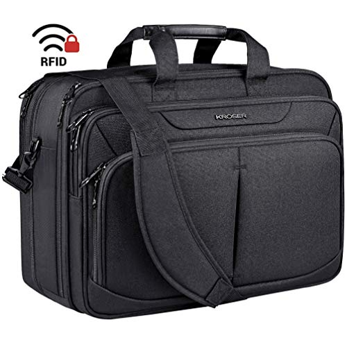 KROSER Laptop Bag 17.1' Upgraded Expandable Lightweight Briefcase for 15.6'-17' Laptop Premium Business Work Bag Water-Repellent Messenger Bag with RFID Pockets for School/Travel/Women/Men-Black