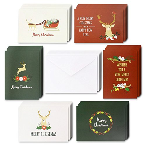 (Christmas Rustic Greeting Cards - 48 Pack Blank Festive Reindeer Holiday Theme 4 x 6 Inches with Envelopes )