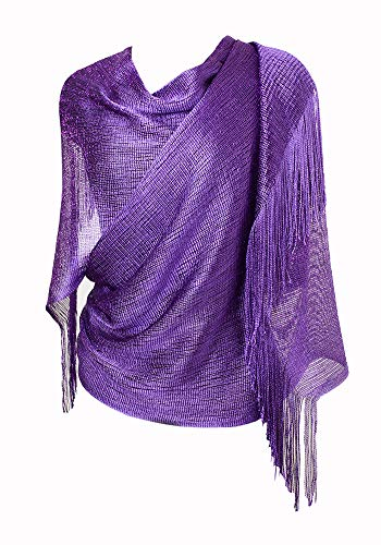 MissShorthair Womens Wedding Evening Wrap Shawl Glitter Metallic Prom Party Scarf with Fringe (999 Purple)