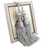 Peacewish One Pair European High-quality Luxurious Curtain Tassel Tiebacks Home Decor Curtain Buckles Holders (Gray)