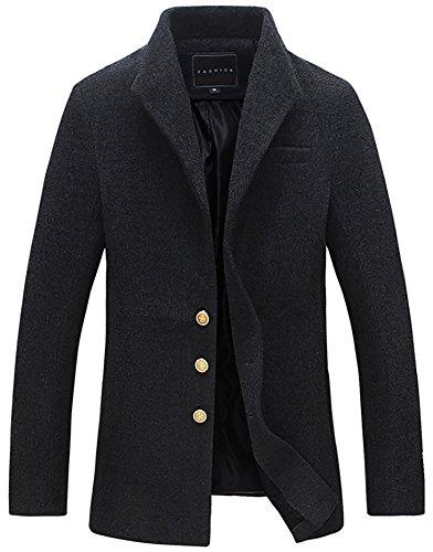 Simple Wool Coat (QZUnique Men's Fashion Simple Slim Fit Lapel Collar Casual Long Wool Coat US M)