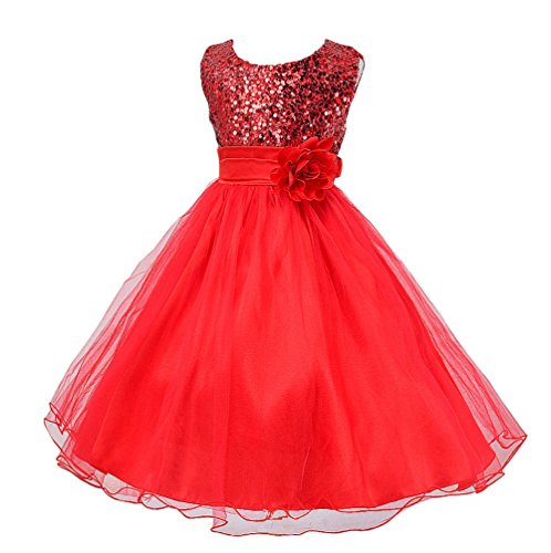 Wocau Little Girls' Sequin Mesh Tull Dress Sleeveless Flower Party Ball Gown (160(8-9 Years), Red)
