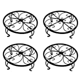 gbHome GH-6749B4 Iron Potted Plant Stand, 10 inch Wide, Black, 4-Pack, Powder Coated Rust Resistant Metal, Decorative Indoor \ Outdoor Flower Pot Holder Saucer, Round Heavy Garden Planter Support Rack