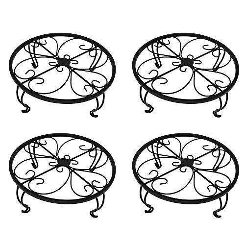 gbHome GH-6749B4 Iron Potted Plant Stand, Black, 4-Pack, Powder Coated Rust Resistant Metal, Decorative Indoor \ Outdoor Flower Pot Holder Saucer, Rustproof Round Heavy Garden Planter Support Rack ()