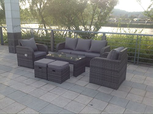 Yakoe Rattan Garden Furniture Sofa Set Plus Reclining Chairs - Grey