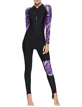 besbomig Traje Neopreno Mujer Full Body Trajes de Surf Traje de Buceo Manga Larga - Playa Quick Drying Traje de baño Snorkeling Buceo 【No es la ...