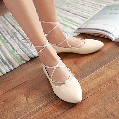 COOLCEPT Mujer Moda Tacon De Vaquero Encaje Planos Vestir Bombas Zapatos Beige