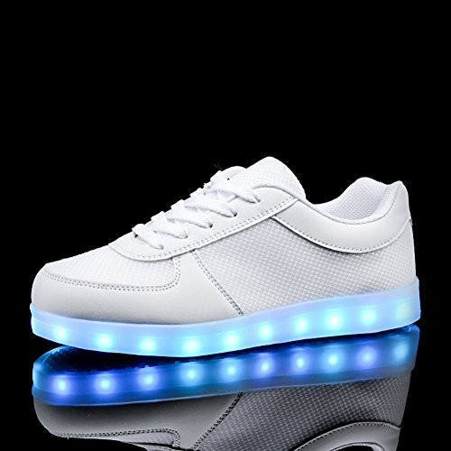 KALEIDO ShinyNight USB Lade 11 Farben LED Leuchten Schuhe Mode Turnschuhe Sportschuhe Für Herren Frauen Mädchen Jungen S-weiß