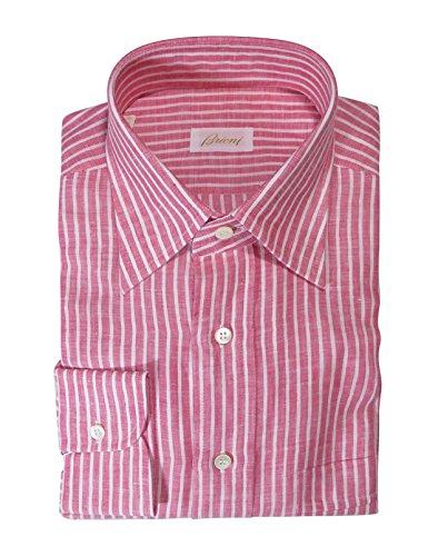 (Brioni Men's Pink Striped Linen Long Sleeve Shirt Size L)