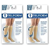 Truform Compression 15-20 mmHg Knee High Closed Toe Stockings Black, Medium, 2 Count
