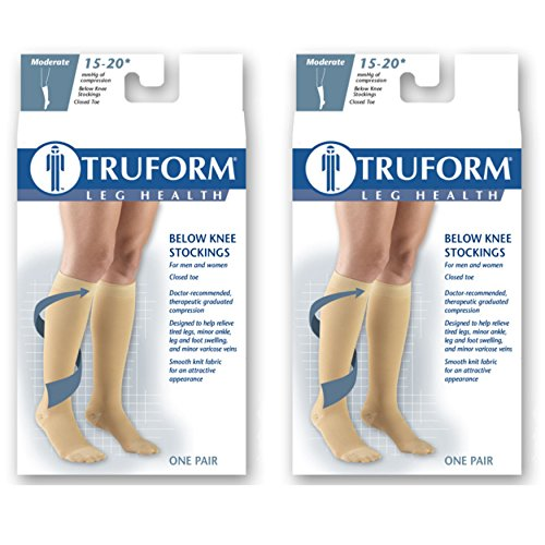 Truform Compression 15-20 mmHg Knee High Closed Toe Stockings Black, Medium, 2 Count by Truform (Image #5)