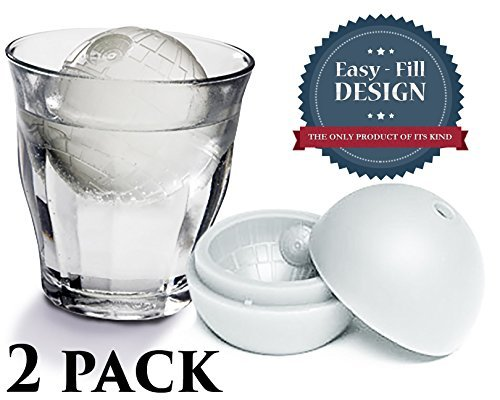 Easy Do It Yourself Costume Ideas (Best Death Star Ice Sphere Mold Tray, Includes BONUS E-Book Guide with Recipes, Star Wars Inspired Cube Silicone Chocolate & Candy Sucker Molds, Perfect Gift for Force Awakens Fan, Large 2 Pack Trays)