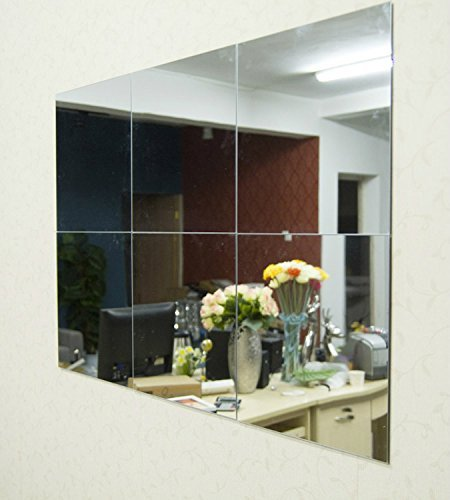 Alrens(TM) 30x30cm Silver 6 Pcs Squares Reflective Mirror Surface Creative (Ceiling Mirror)