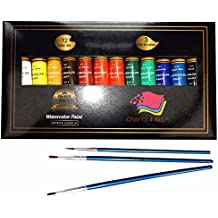 Watercolor Paint Set by Crafts 4 All 24 Premium Quality Art Watercolors Painting Kit for Artists, Students & Beginners - Perfect for Landscape and Portrait Paintings on Canvas (24x12ml) (12x12ml)