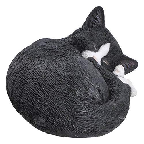 Hi-Line Gift 87728-A Cat Sleeping Lying Down Statue44; Black & White (Statues Cat Garden)