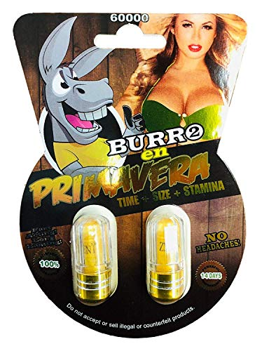 New Burro En Primavera 60000 (8 Pills) All Natural Male Enhancement Sex Pills (Yellow 16 Pills)