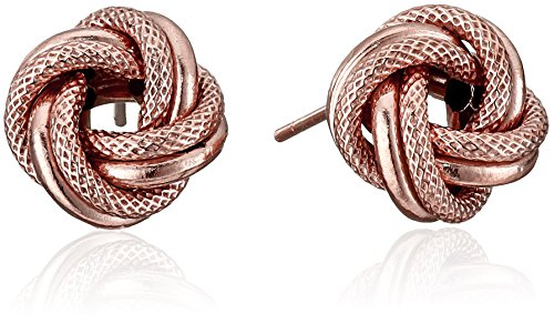 14k Rose Gold Italian Love Knot Stud Earrings (Italian Stud Gold)