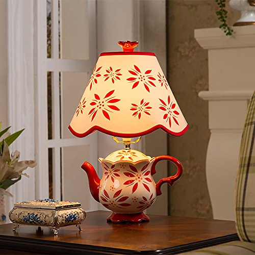 Creative Ceramic Table Lamp Teapot Shape with Fabric Shade for Bedroom Living Room Decoration, Green ()