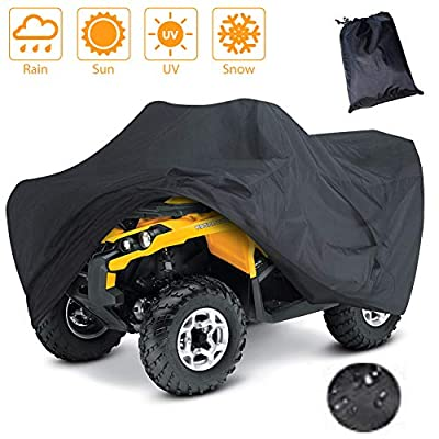 LotFancy All Weather Waterproof ATV Cover, Heavy Duty Black Quad Protects 4 Wheelers Outdoor Protection from Wind UV Sun Snow Rain (L 86x47x39 inches): Automotive