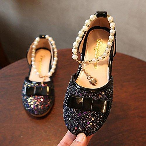 IGEMY Kleine Mädchen Mode Prinzessin Dance Leder Casual einzelne Schuhe Schwarz