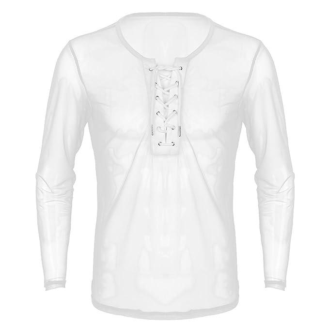 YiZYiF Camiseta Interior Hombre Polos Deporte Running Ropa Blusa de Malla Transparente Lencería Erótica: Amazon.es: Ropa y accesorios