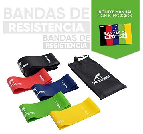 YO.FITNESS Bandas de Resistencia para Ejercicio en Casa o Gimnasio | Set con 5 Bandas de diferente Grosor y Color | Ligas...