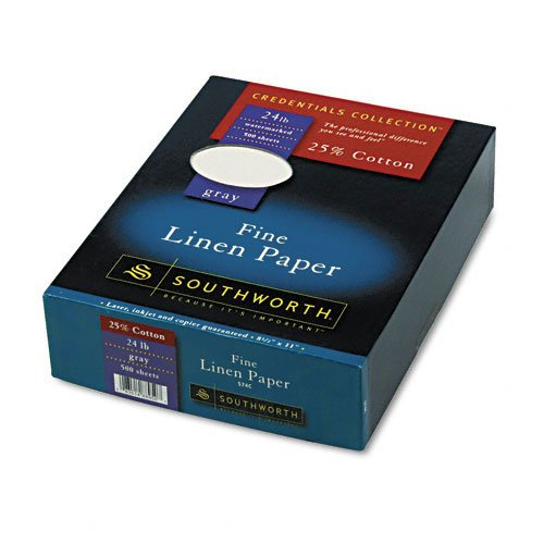 - Southworth : Credentials Collection Fine Linen Paper, Gray, 24lb, Letter, 500 per Box -:- Sold as 2 Packs of - 1 - / - Total of 2 Each