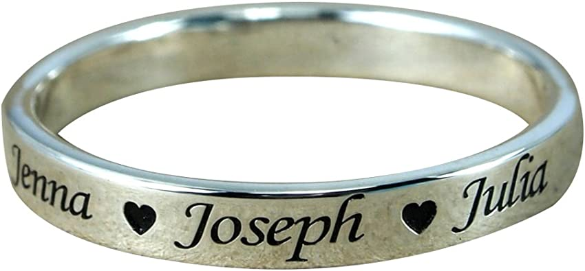 STERLING SILVER SISTER RING POLISHED SIS NAME RING LINK SIDE BAND GIFT BOX MUM