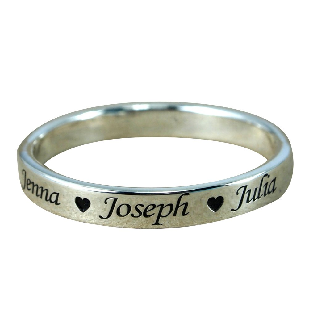Ouslier 925 Sterling Silver Personalized Ring with Family Name Custom Made with 3 Names (Silver)