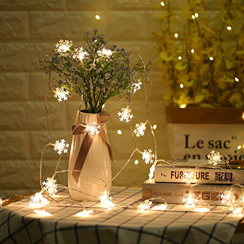 Agyvvt LED String Lights Snowflake Warm White 20ft 40 LEDs Battery Operated Remote Control Decorative Waterproof Indoor Outdoor for DIY Decor, Christmas, Party, Wedding, Garden, New Year -