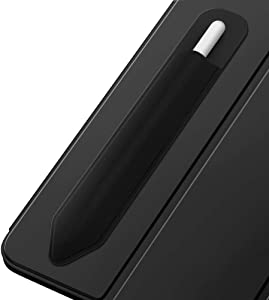 MoKo Pencil Case Holder Sticker Fit i-Pencil 1st & 2nd, Elastic Pencil Pouch PU Leather Adhesive Sleeve Fit iPad 8th Gen 2020/7th Gen 10.2/iPad Air 4th Gen/iPad Pro 11 & 12.9 2020 - Black