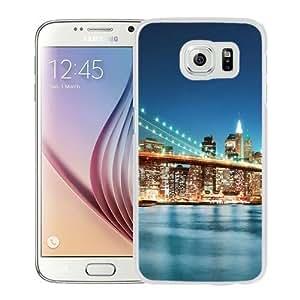 NEW Unique Custom Designed Samsung Galaxy S6 Phone Case With New York City Bridge Sunrise_White Phone Case