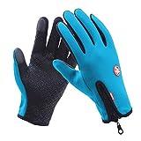 Waterproof Winter Ski Warm Gloves Windproof Motorcycle Touch Screen Driving Gloves for Men's Women (Blue, M)