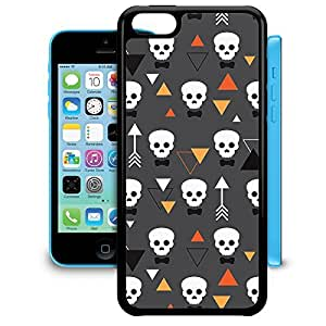 Bumper Phone Case For Apple iPhone 5C - Geometric Skulls Rubber Soft Edge