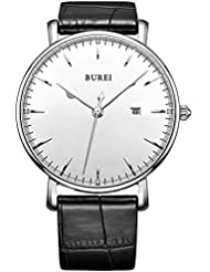 BUREI® Unisex Ultra-thin Classic Date Analog Watch with Black Calfskin Leather Band, White Dial