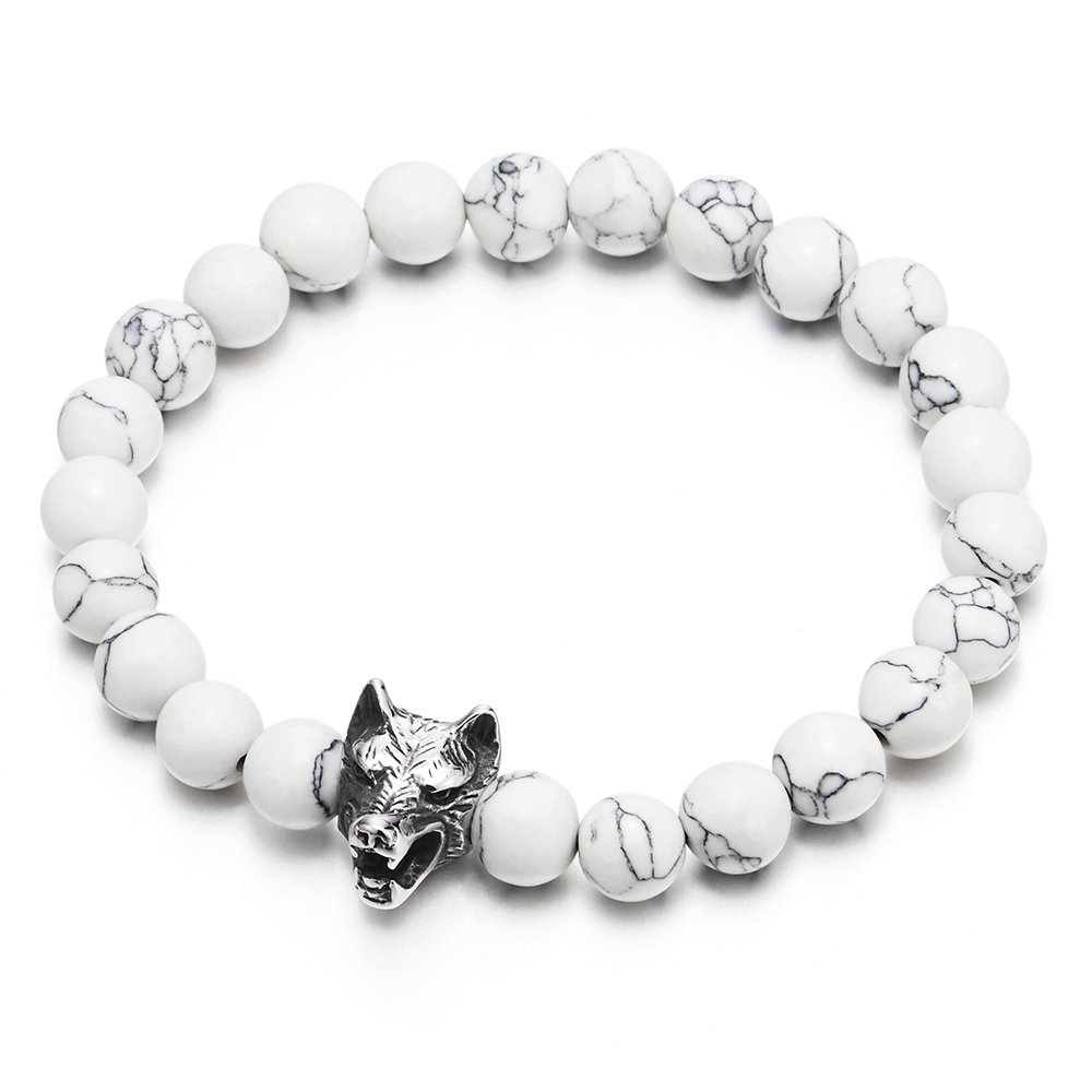 COOLSTEELANDBEYOND Mens Boys 8MM White Gem Stones Bracelet with Stainless Steel Wolf Head Charm, Stretchable MB-1645-EU