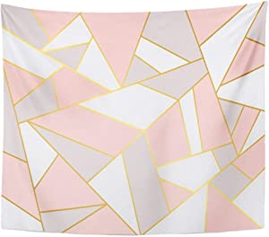 Emvency Tapestry Mandala 50x60 inch Home Decor Colorful Gold Pink Grey Geometry White Mosaic Abstract Angel Broken Color Colourful for Bedroom Living Room Dorm