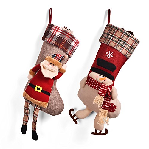 Christmas Stockings 2Pcs 3D Plush Cute Santa Snowman Socks Decoration with Hang loops ()