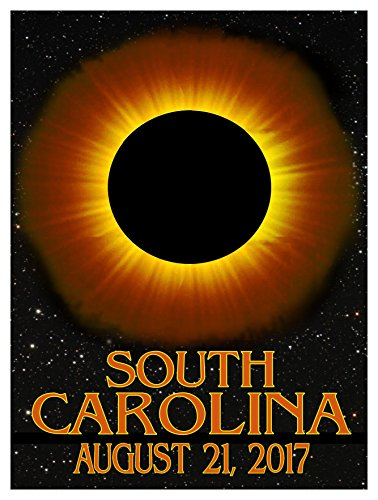 South Carolina Solar Eclipse Giclee Travel Art Poster (9 x 12 inch) Art Print for Bedroom, Family Room, Kitchen, Dorm Room or Office Wall - In Portland Malls Maine